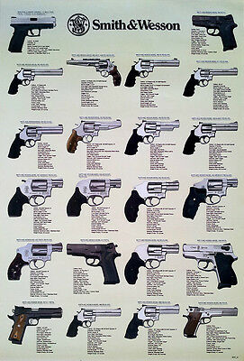 SMITH & WESSON REVOLVERS POSTER 23x34 PISTOLS, GUNS, U.S.A. FIREARMS, HANDGUNS 1