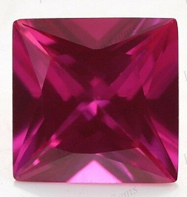 Lab Created Hydrothermal Ruby AAA Square Princess Loose stone (3x3mm - 13x13mm)