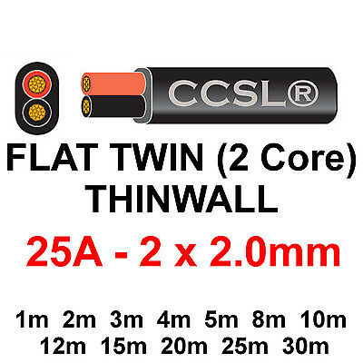 12v/24v AUTOMOTIVE 2 CORE FLAT TWIN THINWALL CABLE 2mm 25A Power Battery Auto