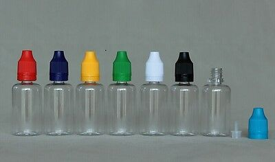 30ml PET Clear liquid dropper bottle tamper proof child proof cap 10 sets