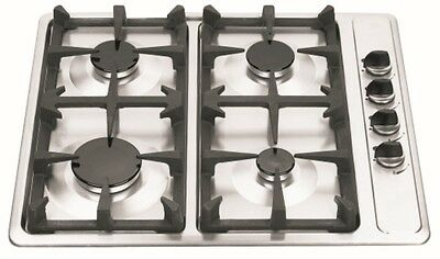 New Lectroni 60cm Gas Cooktop 4 Burner Stainless Steel Castiron Trivet Sale!!