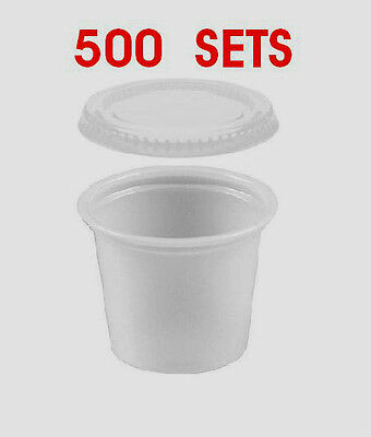 2 Oz. Jello Souffle Cups Plastic Portion Cups Plastic Cups  500 SETS with Lids