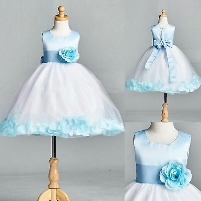 NEW Baby Blue Rose Petal Tulle Dress Flower Girl Bridesmaid Holiday Pastel #022