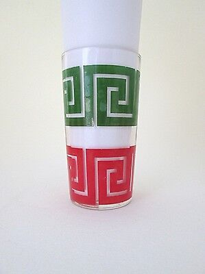 SET 7 Vtg 50s 60s Mid Century Mod Federal Red Green Geometric Glasses Tumblers