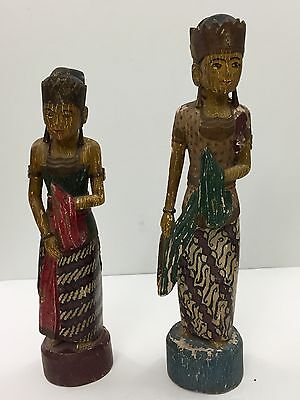 Thai Man And Woman Hand Carved God & Goddess Wooden Sculptures 19Th Century