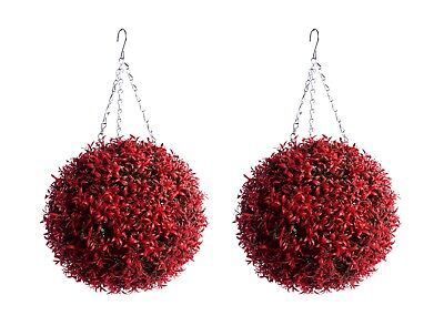 2 Best Artificial 30cm Red Rosemary Lush Christmas Topiary Flower Ball Basket