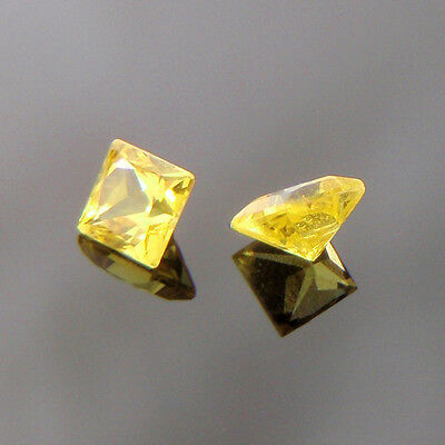 Lab Created Hydrothermal Yellow Sapphire Square Princess Loose stone (3x3-13x13)