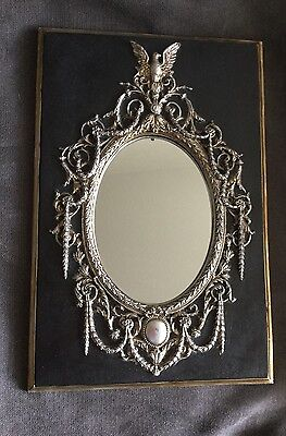 Antique Style French Petite Garland Mirror~Vintage Black Silver Finish