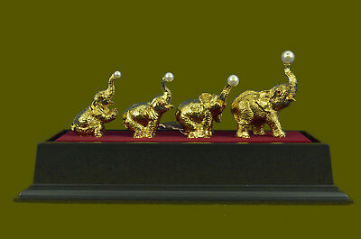 Large 24K Gold and Silver Plated Bronze Sculpture Elephants Display Figurine Art