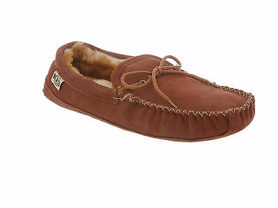 Rj's Fuzzies Slipper Sheepskin Mens Soft Sole Moccasin Shoe Brown Medium (D, M)