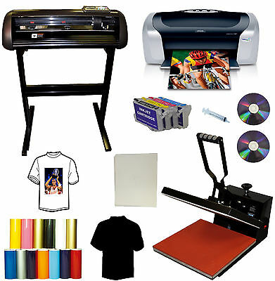 15x15 Heat Press,Plotter, Printer Bundle,All METAL Cutter,Printer,Refil Ink,PU