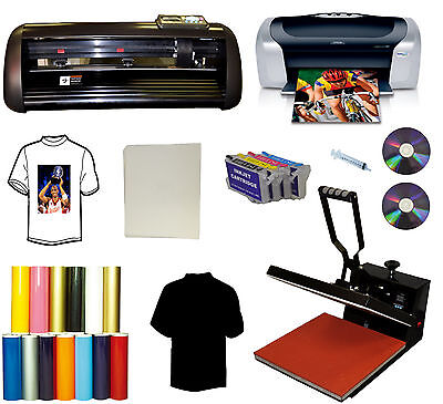 "15""x15"" Heat Press,Printer,PU Vinyl Cutter Plotter,Cartridges,Decal,Sign Bundle"