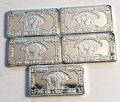 "5 x 2.5 gram German Silver ""USA Buffalo"" Ingots (No Capsules) Total 12.5 Grams"