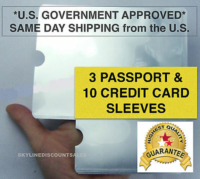 3x Passport 10x RFID Blocking ID Credit Card Protector Sleeve Shield Anti Theft