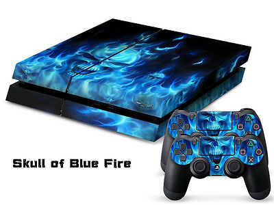 SKULLOF BLUE FIRE DECAL SKIN PROTECTIVE STICKER for SONY PS4 CONSOLE CONTROLLER