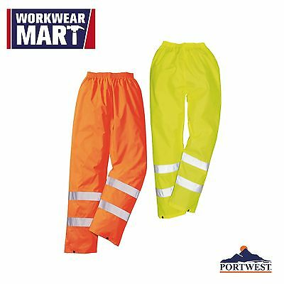 Hi-Vis Rain Pants, Reflective Tape Waterproof Work Trouser M-3XL, Portwest H441