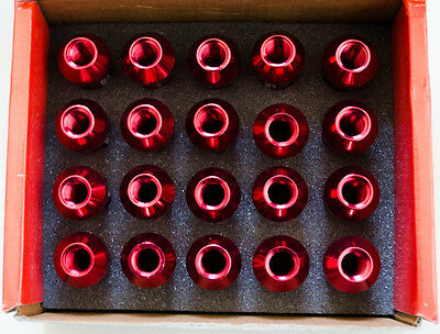 Forged Aluminum Wheel Lug Nut (20) M14 X 1.5mm x 60mm RED 21 mm HEX