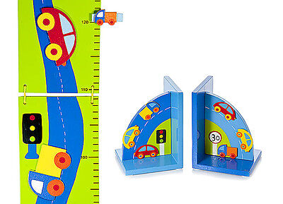 Childrens Kids Baby Car Height Growth Chart Bookends Boys Nursery Bedroom