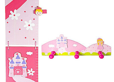 Kids Princess Height Growth Chart Coat Wall Hooks Baby Nursery Girls Bedroom