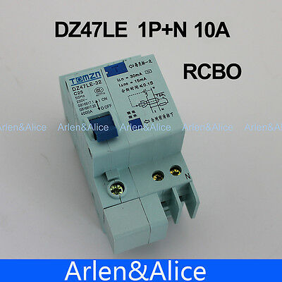 DZ47LE 1P+N 10A C type 230V~ 50HZ/60HZ Residual current Circuit breaker RCBO