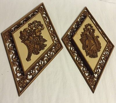 """Vintage 1954 Mid-Century SYROCO Wall Hanging Decor 14 X 7"""" Gold Plaques Homco"""