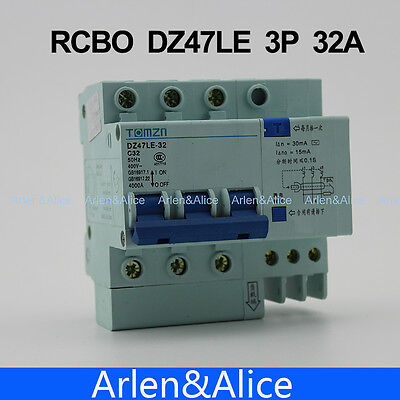 3P 32A DZ47LE 400V~ Residual current Circuit breaker   RCBO