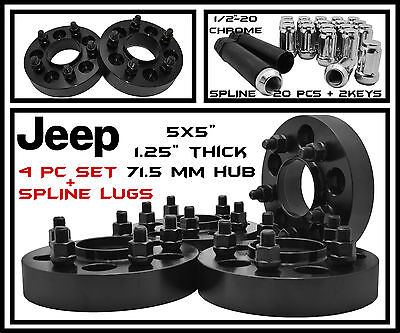 "4 Black 1.25"" inch Jeep Hubcentric Wheel Spacers JK Wrangler Grand Cherokee"