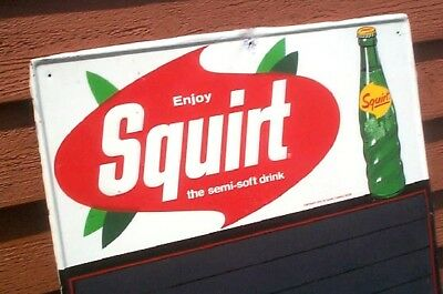 Vintage Rare Early Squirt Cola Metal Menu Board Sign W/ Glass Bottle Graphic