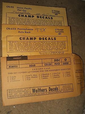O Scale 2 packs Champ,1  Walthers Decals B&O, TTX, UP Flat Cars