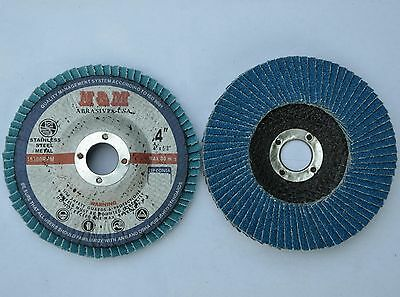 "10  Pro 4""x 5/8"" ZirconiaFLAP DISC 60 grit for Stainless Steel & Metal"