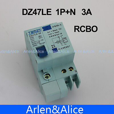 DZ47LE 1P+N 3A 230V~ 50HZ/60HZ Residual current Circuit breaker  RCBO