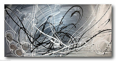 ABSTRACT CANVAS PAINTING grey silver . Modern wall art Australia