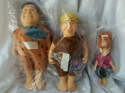 Vintage Flintstones Fred, Barney & Pebbles Dakin Dolls Lot Set - New & Sealed!!!