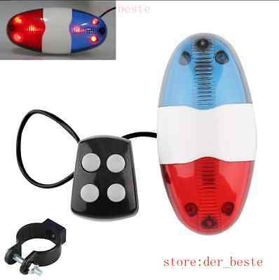 Bike Bicycle Cycling 4 Sounds 6 LED Police Car Siren Electric Light Horn Bell DE