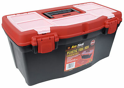 "19"" Strong Durable Plastic Lockable Tool Box Case DIY Hobby Storage Compartments"