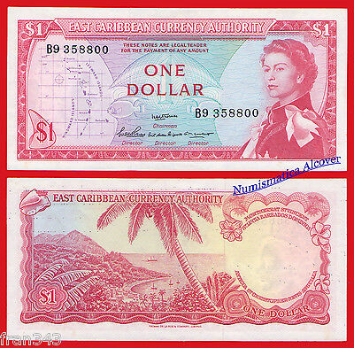 EAST CARIBBEAN STATES CARIBE 1 dollar dolar 1965 SIGN 2 Pick 13a  SC / UNC
