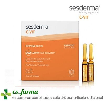 Sesderma C-Vit Intensive Serum, 5 Ampollas Efecto Flash 2 Ml 12% Vitamina C Pura