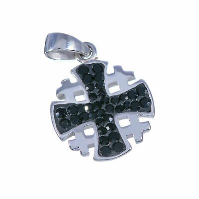 Sterling silver 925 swarovski crystals Jerusalem cross blessed Small pendant