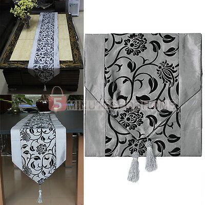 Stylish Table Cloth Runner Party Wedding Banquet Home Hotel Decor Silver Grey