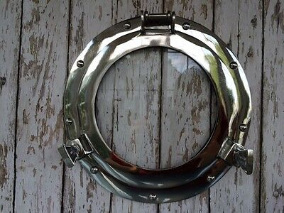 "11"" Porthole Glass ~ Chrome ~ Aluminum ~ Nautical Maritime Decor"
