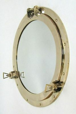 "20"" Brass Porthole Mirror ~ Polished Finish ~Nautical Maritime ~ Cabin Port Hole"