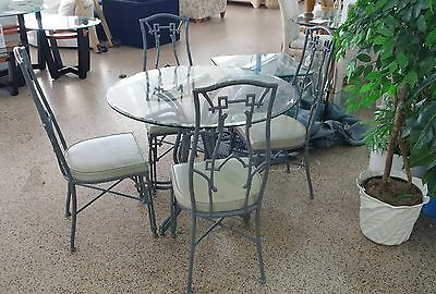 Vintage Brown Jordan Mid Century Chinese Chippendale Palm Beach Dining Set P