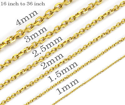 18K gold plated Mens Womens Stainless Steel Gold Chains Cross Gold Necklaces