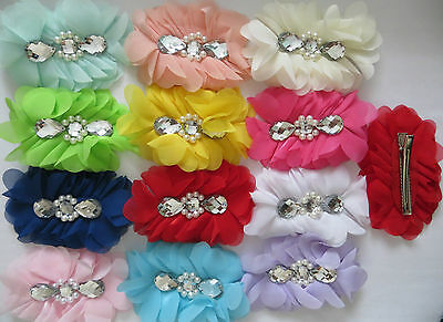 Chiffon Bridesmaids,Flower Pearl Bead Crocodile Clip Fascinator Hair Pin Accesso