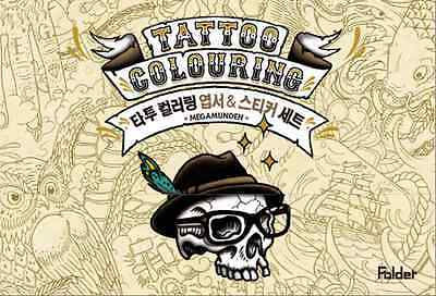 TATTOO Postcards Coloring Book+Stickers Adult By MEGAMUNDEN Anti Stress Therapy