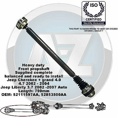 Jeep Grand Cherokee Liberty Front Propshaft Complete 790Mm 52111597Aa 52853500A