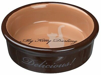 Trixie My Kitty Darling Ceramic Cat Bowl Brown Cat Kitten Feeding Dish 24654B