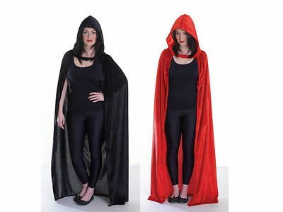 Black And Red Hooded Velvet #cloak Adult Costume For Fancy Dress Party