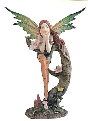 """8.5"""" Inch Green Forest Fairy on Tree Statue Figurine Figure Fantasy Magical"""