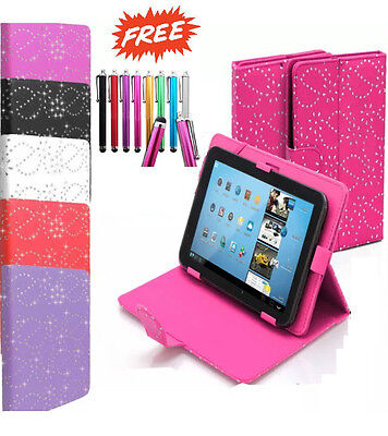 "Universal Folio Bling Leather Stand Case Cover 7"" 7 Inch Tab Android Tablet PC"